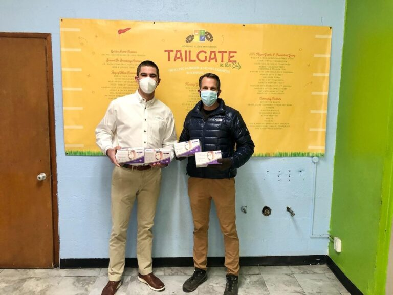 Sales Director Spencer Dean delivers donated masks to Morning Glory Ministries